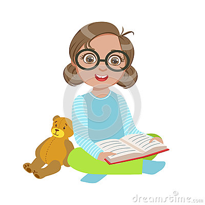 Free Girl In Glasses With Teddy Bear Reading A Book, Part Of Kids Loving To Read Vector Illustrations Series Stock Images - 89297944