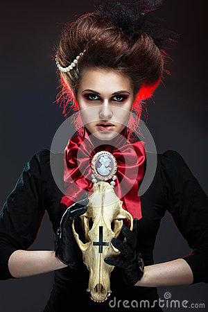 Free Girl In Gothic Art Style. Royalty Free Stock Photos - 43160158