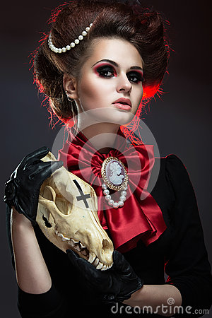 Free Girl In Gothic Art Style. Royalty Free Stock Images - 43160249