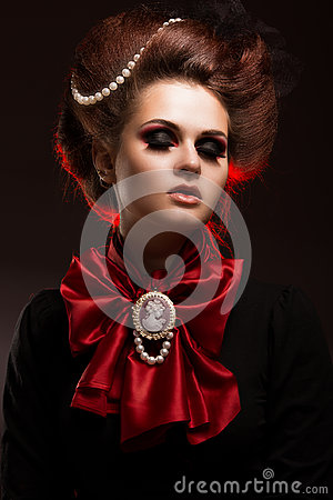 Free Girl In Gothic Art Style With Creative Makeup. Image For Halloween. Stock Images - 98712064