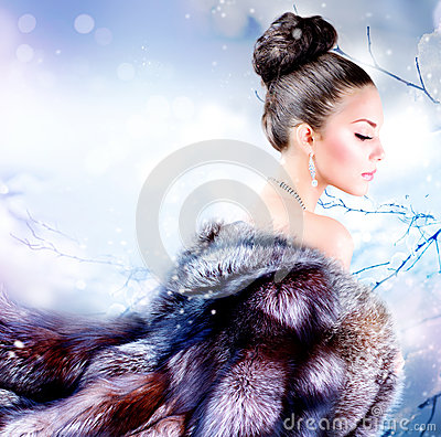 Free Girl In Luxury Fur Coat Stock Image - 26467391