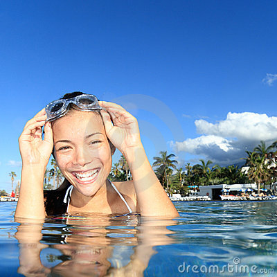 Free Girl In Luxury Resort Swimming Pool Royalty Free Stock Image - 17600986