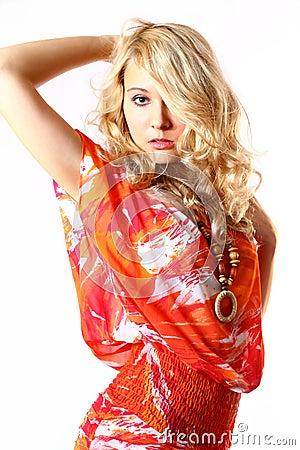 Free Girl In Orange Dress Royalty Free Stock Image - 1774956