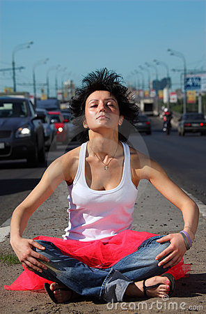Free Girl In Pink Skirt Meditates On Highway Middle Royalty Free Stock Image - 10699046