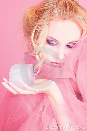 Free Girl In Pink With Ice Cube Stock Image - 12821281