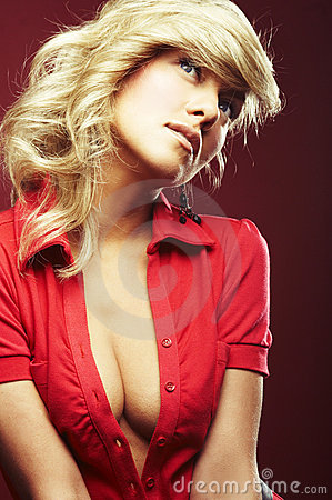Free Girl In Red Blouse Royalty Free Stock Image - 6805666