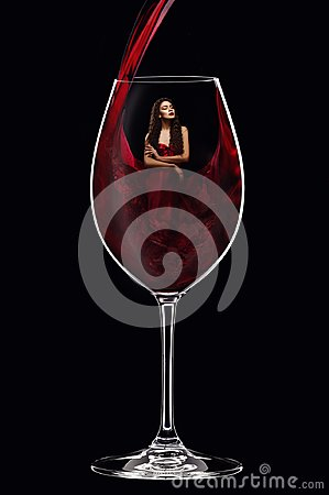 Free Girl In Red Dress Inside Wine Glass Royalty Free Stock Photos - 103670928