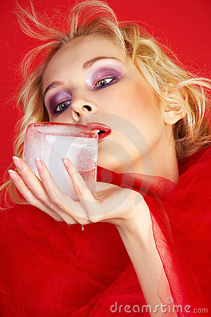 Free Girl In Red With Ice Cube Stock Photography - 12821212