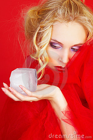 Free Girl In Red With Ice Cube Stock Image - 12821331