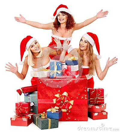 Free Girl In Santa Hat Holding Christmas Gift Box. Royalty Free Stock Photos - 27677418