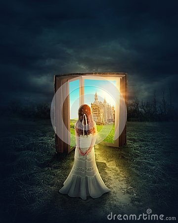 Free Girl In The Magic Book Land Stock Photography - 105780192