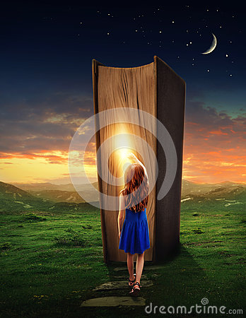 Free Girl In The Magic Book Land Royalty Free Stock Photo - 97804055
