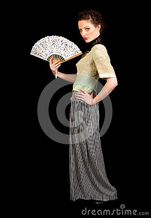 Free Girl In Victorian Dress Holding A Fan Stock Images - 36915164