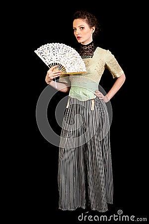 Free Girl In Victorian Dress Waving A Fan Royalty Free Stock Image - 36915116