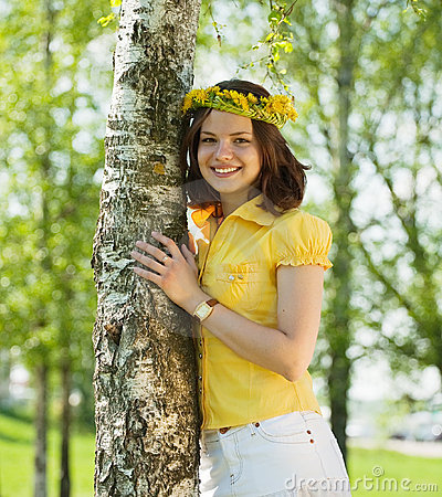 Free Girl In Wreath  Near Birch Stock Photography - 14313892
