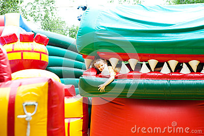 Girl in the inflatable entertainment park