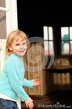 Girl invites to playhouse