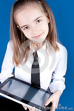 Girl with ipad like gadget