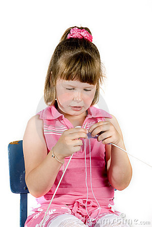 Free Girl Is Knitting Stock Images - 2742204