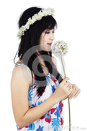 Free Girl Is Smelling A Flower Stock Images - 37086764