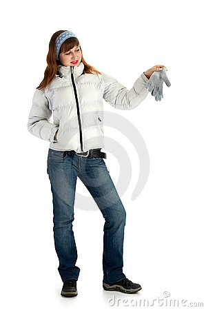 Girl in jacket with glove