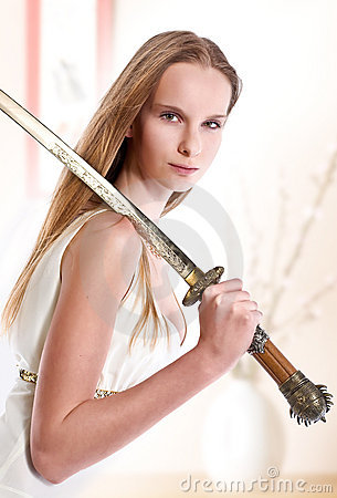 Girl with japanese sword