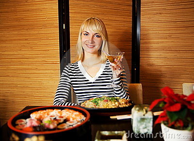 Girl in Japaneses restaurant