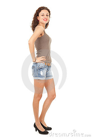 Girl in jeans shorts, full length