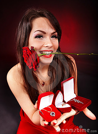 Girl with jewellery gift box, rose.Valentines day