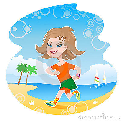 Girl Jogger On Beach Stock Image - Image: 20514291