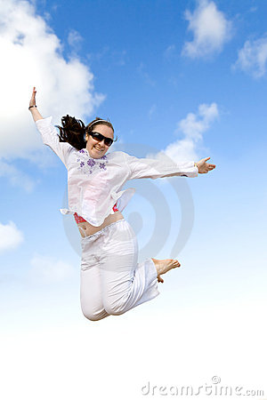 Girl jumping on the air