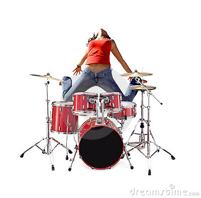 Girl jumping with Drum kit