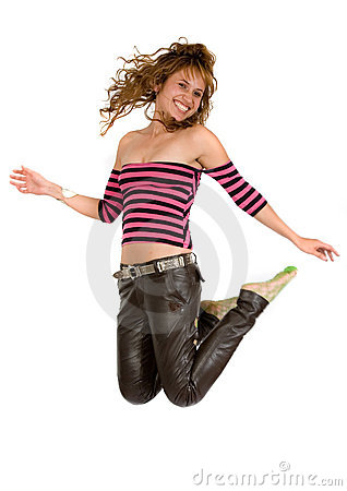 Girl jumping full of joy