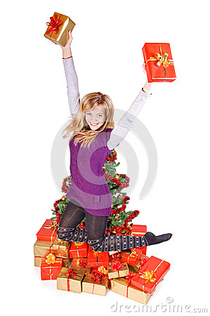 Girl jumping with gift