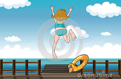 A girl jumping for help