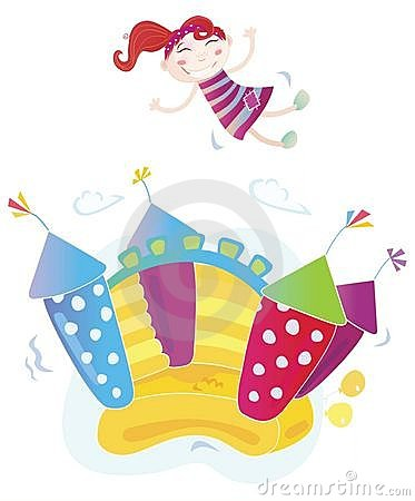 Free Girl Jumping In Bouncy Castle Stock Photo - 13431610