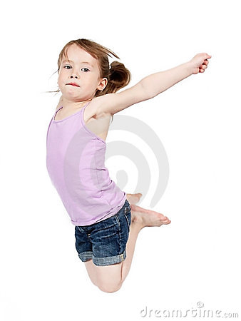 Girl jumping in midair