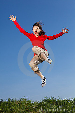 Free Girl Jumping Outdoor Royalty Free Stock Photo - 16450485