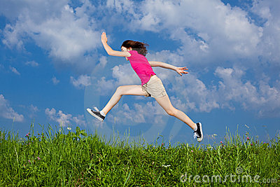 Girl jumping outdoor