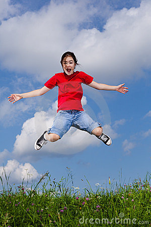 Free Girl Jumping Outdoor Royalty Free Stock Photo - 23720235