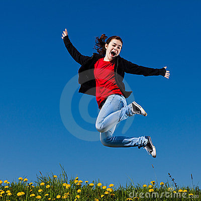 Free Girl Jumping Outdoor Royalty Free Stock Photo - 23854495
