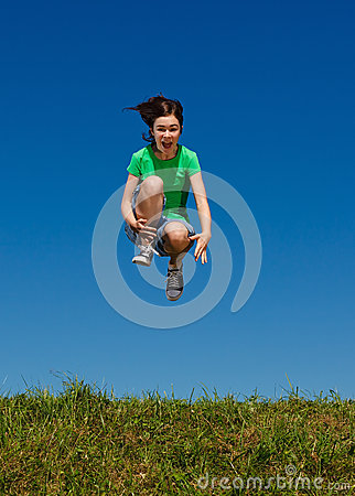 Free Girl Jumping Outdoor Royalty Free Stock Photos - 36655708