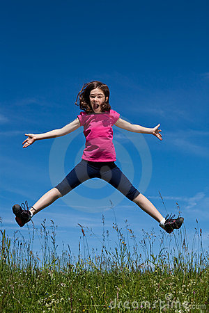 Free Girl Jumping Outdoor Royalty Free Stock Image - 9829876