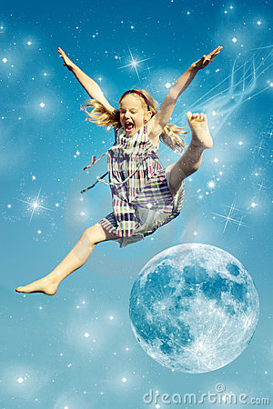 Girl jumping over the moon