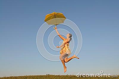Girl jumping, running,