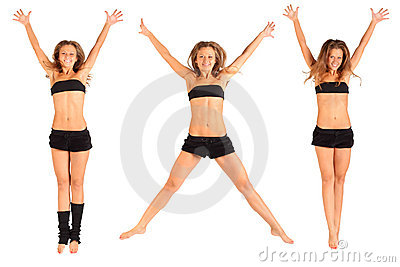 Girl jumping up with raised arms isolated