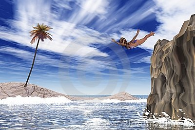 Girl jumps into the sea