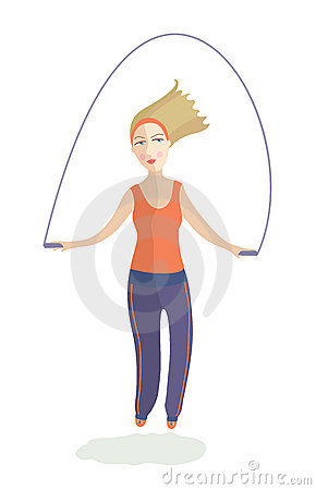 The girl jumps on a skipping rope
