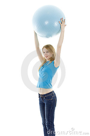 Girl keeping blue fitball