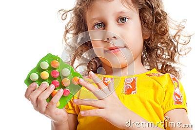 The girl keeps vitamins